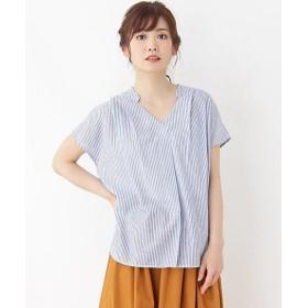 <grove/グローブ> リネン調スキッパーシャツ(2001528862) 390アオ【三越・伊勢丹/公式】