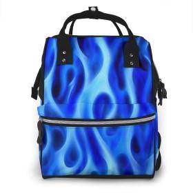 青い炎火のおむつバックパック、ママ/パパのための大型多機能防水旅行バックパック、耐久性のあるマタニティベビーおむつカジュアルショルダーバッグ-Blue Galaxy