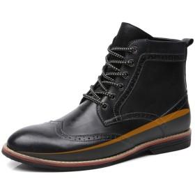 [CHIIKA] ビジネスシューズ ショートブーツ メンズ ワークブーツ マーティンブーツ レースアップ 編み上げ 本革 焦がし加工 ウイングチップ 防水 大きいサイズ 滑り止め 耐磨耗性 紳士靴 ブラック・シークレット