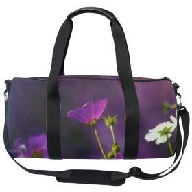 スポーツバッグ レディース ジム 大容量 軽量 旅行 かわいい おしゃれ 紫の陽極の花 ボストンバッグ 男女兼用 多機能 2way ショルダーポーチ付き シューズ収納