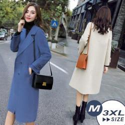 【LANNI 藍尼】現貨 華麗名模毛呢中長版大衣-3色(M-3XL)