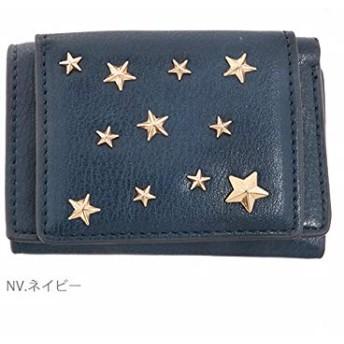 (チチカカ/Legato Largo) 星形スタッズ 三つ折りミニ財布 LU-M0721 FREE ネイビー