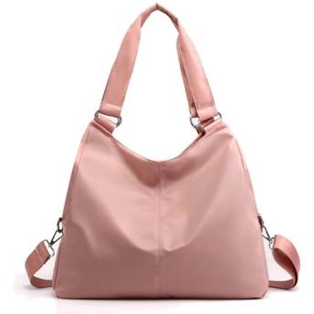 レディース ショルダーバッグ 3WAY ナイロン シンプル 斜めがけバッグ 大容量 手提げバッグ カバン 通勤 旅行 ハンドバッグ(ピンク)