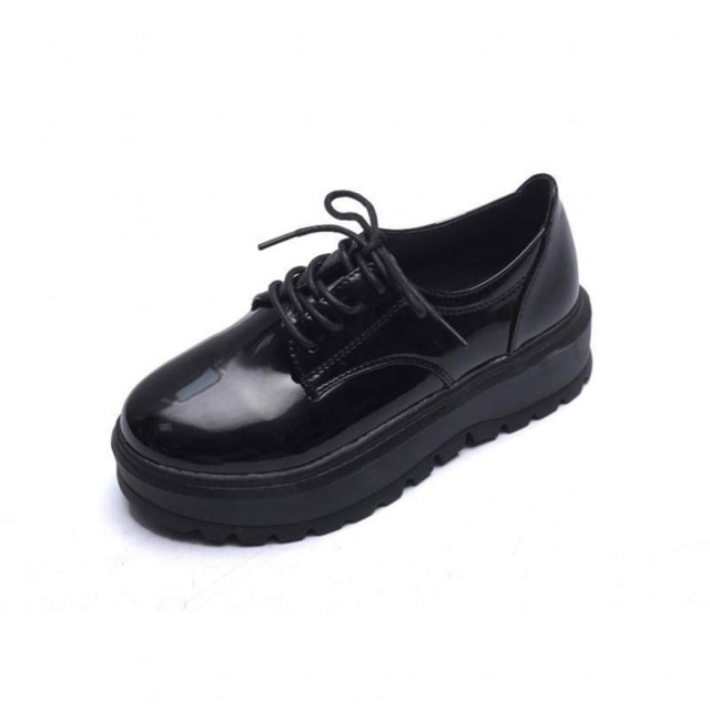 [JGFI] 革靴 オックスフォードシューズ マーチンシューズ 厚底シューズ エナメル レースアップシューズ カジュアル 着心地よい 耐摩耗性 耐久性 おじ靴 厚底 マニッシュ 22.5cm ラウンドトゥ ローカット 本革 シンプル 可愛い 疲れにくい ブラック 安定感
