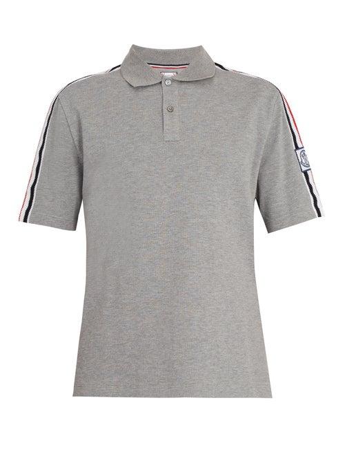 Moncler Gamme Bleu - Tricolour-stripe Cotton-piqué Polo Shirt - Mens - Grey