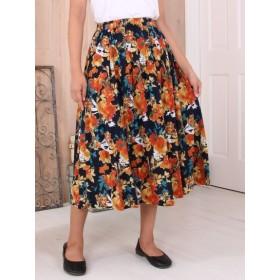 【大きいサイズレディース】微起毛水彩フラワープリントスカート スカート 膝丈スカート