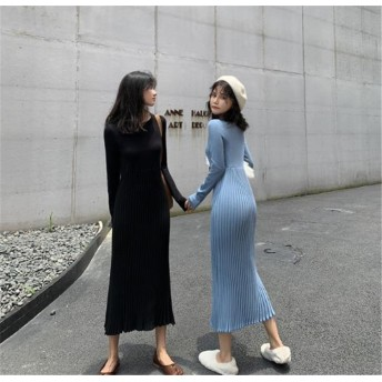 2019新しい 甘い 初恋の感じ 気質 女性 韓国ファッション CHIC気質 大人気 おしゃれな トレンド 新品 秋冬物 スリム プリーツスカート ニットワンピース