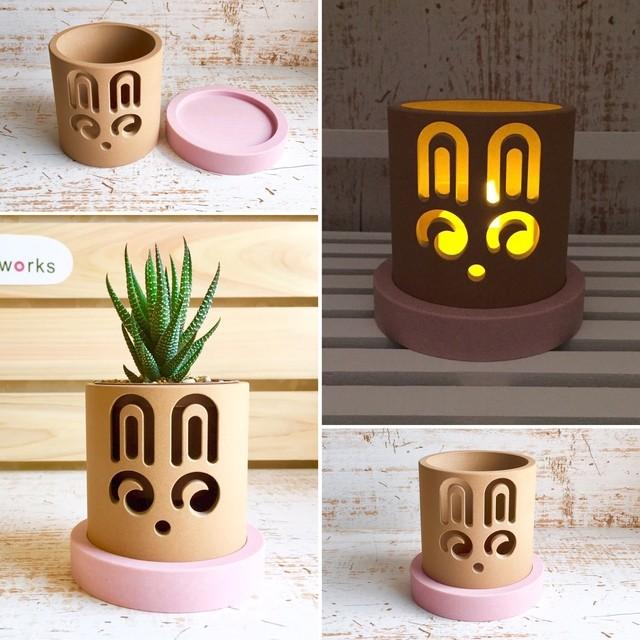 【うさぎ ピンク】インテリア雑貨、鉢カバー、キャンドルホルダー