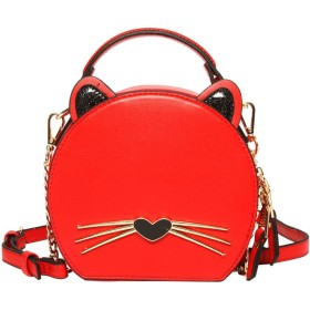 女性の韓国の野生の猫の小さなバッグはシンプルなメッセンジャーバッグをバンズ,赤