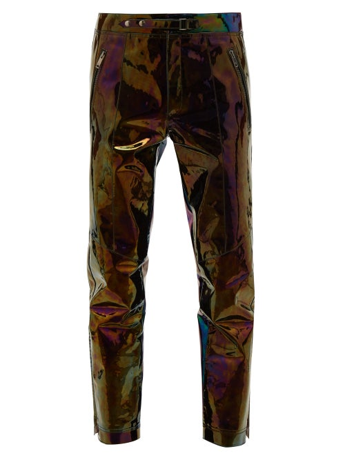 Givenchy - Iridescent-leather Straight-leg Trousers - Mens - Black