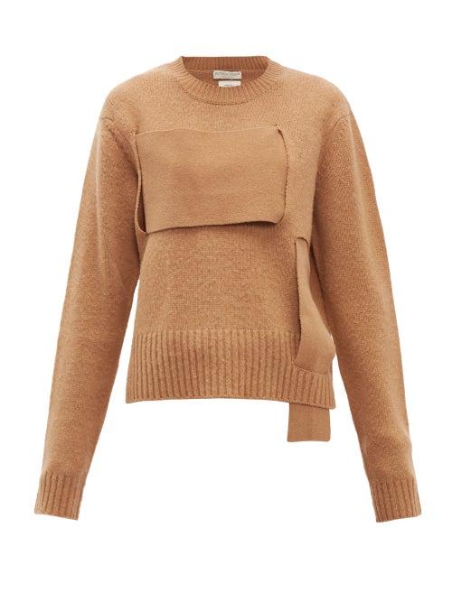 Bottega Veneta - Woven-panel Wool Sweater - Womens - Camel