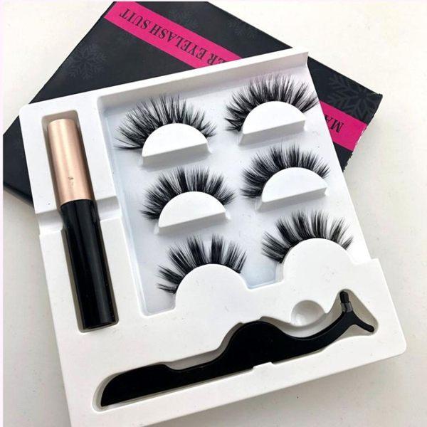 磁鐵假睫毛自然款磁力裸妝裝飾初學者懶人新款眼線液套裝濃密平價