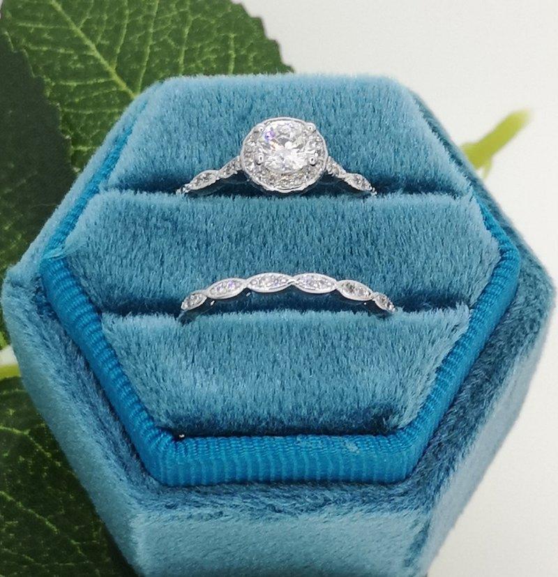 18K白金訂婚戒指和交叉結婚戒