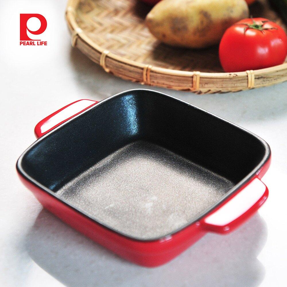 【日本珍珠金屬】方形耐熱深形不沾焗烤盤-熱情紅14x14cm