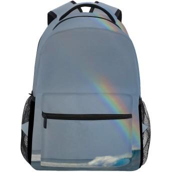 バックパック旅行海波レインボースクールブックバッグショルダーラップトップデイパックカレッジバッグ用レディースメンズボーイズガールズ