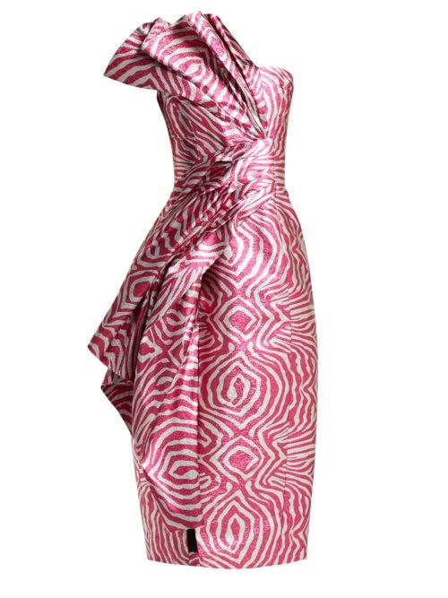 Halpern - Zebra Lamé Strapless Midi Dress - Womens - Pink Multi