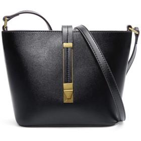 ハンドバッグレザーバケットバッグ女性レザーバッグ大容量のメッセンジャー,黒