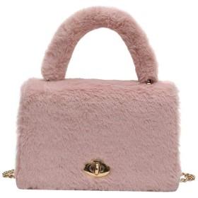 ショルダーバッグ ハンドバッグ ファーバッグ レディース 肩掛け カバン 鞄 ポシェット 斜め掛け 女の子 チェーン もこもこ ファー付き 軽量 ミニバッグ 秋冬 (ピンク)