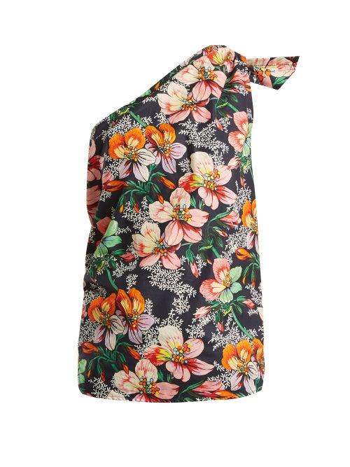 Isabel Marant - Noor One-shoulder Floral-print Top - Womens - Navy Multi