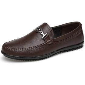 [インボラ] ローファー メンズ ビジネスシューズ モカシン デッキシューズ 革靴 牛革 学生靴 紳士靴 運転 通勤 通学 幅広 ラウンドトゥ 四季 ブラウン 0I0F09 26.0cm