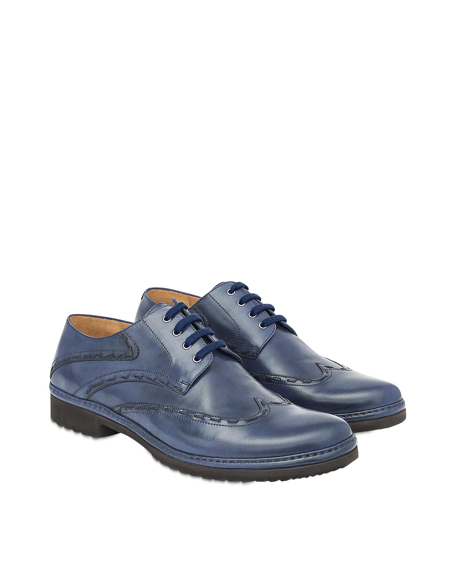 Pakerson 帕克森 鞋履, Blue手工皮革系带休闲鞋