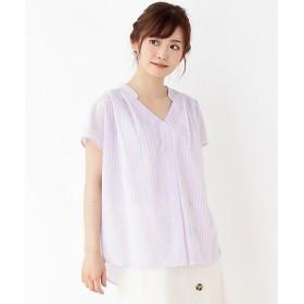 <grove/グローブ> リネン調スキッパーシャツ(2001528862) パープル【三越・伊勢丹/公式】