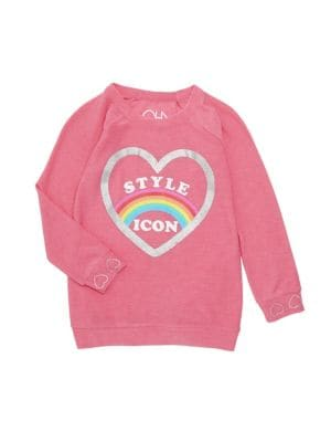 A glittered heart and rainbow graphic defines this fun pullover.; Crewneck; Long ragalan sleeves; Ri