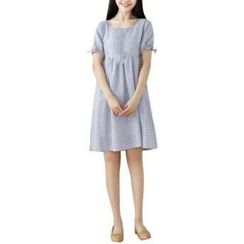 Lazayyii ワンピース レディース ヴィンテージプリント ジュアルミッドドレス 半袖 綿 体型カバー 着痩せ (XL, ブルー)