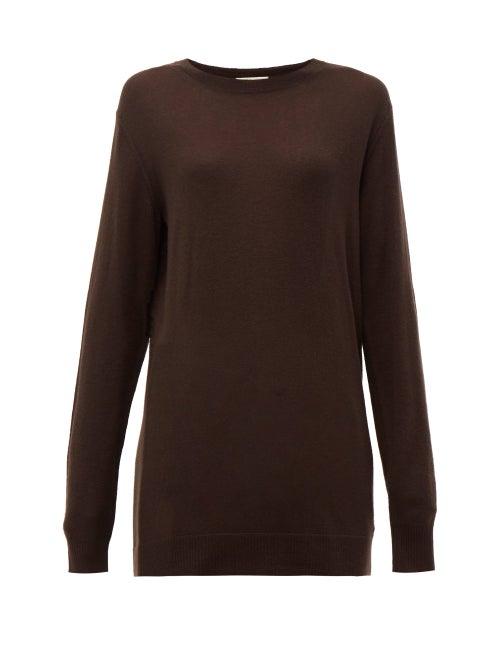 Bottega Veneta - Fine-gauge Cashmere Sweater - Womens - Dark Brown