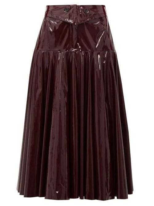 Palmer//harding - Gathered Pvc Midi Skirt - Womens - Burgundy