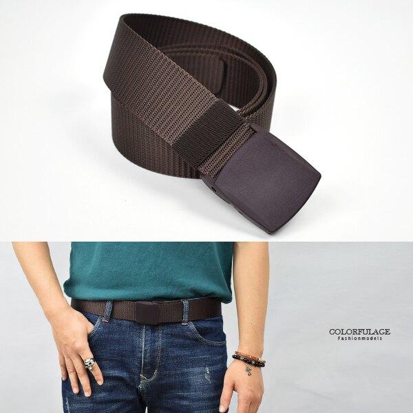 皮帶 素款咖色塑膠壓扣腰帶  出國專用【NK149】