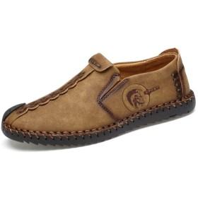 [LINSWARD] ビジネス シューズ メンズ 高級 ドレス レザー シューズ おしゃれな 紳士靴 普段用 ローカット 防臭 耐磨耗性 軽量 本革シューズ (カーキ) 25.5cm