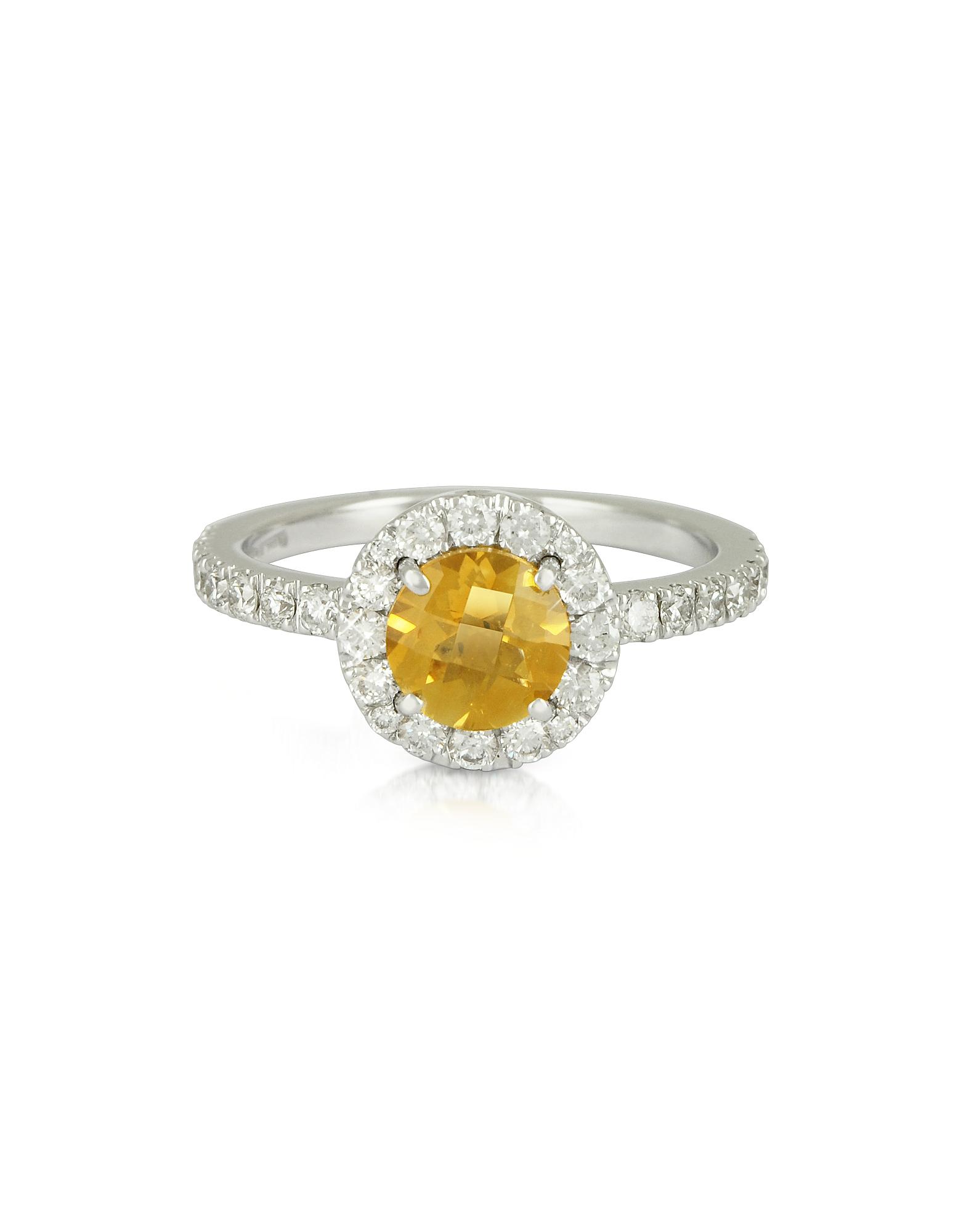 Forzieri 福喜利 戒指, 0.50克拉钻石铺鑲18K白金戒指配黄水晶石英