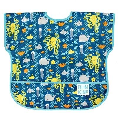 【淘氣寶寶】【美國Bumkins】兒童(1-3歲)短袖防水圍兜-海洋朋友 BKU-190【保證公司貨】
