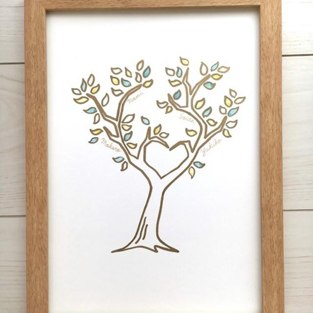【名入れ可能】原画 家族の木 ファミリーボード Heart
