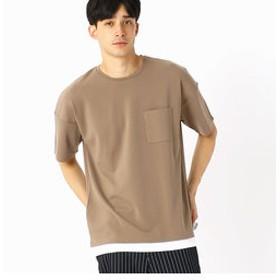 【COMME CA ISM:トップス】フェイクレイヤード ビッグTシャツ