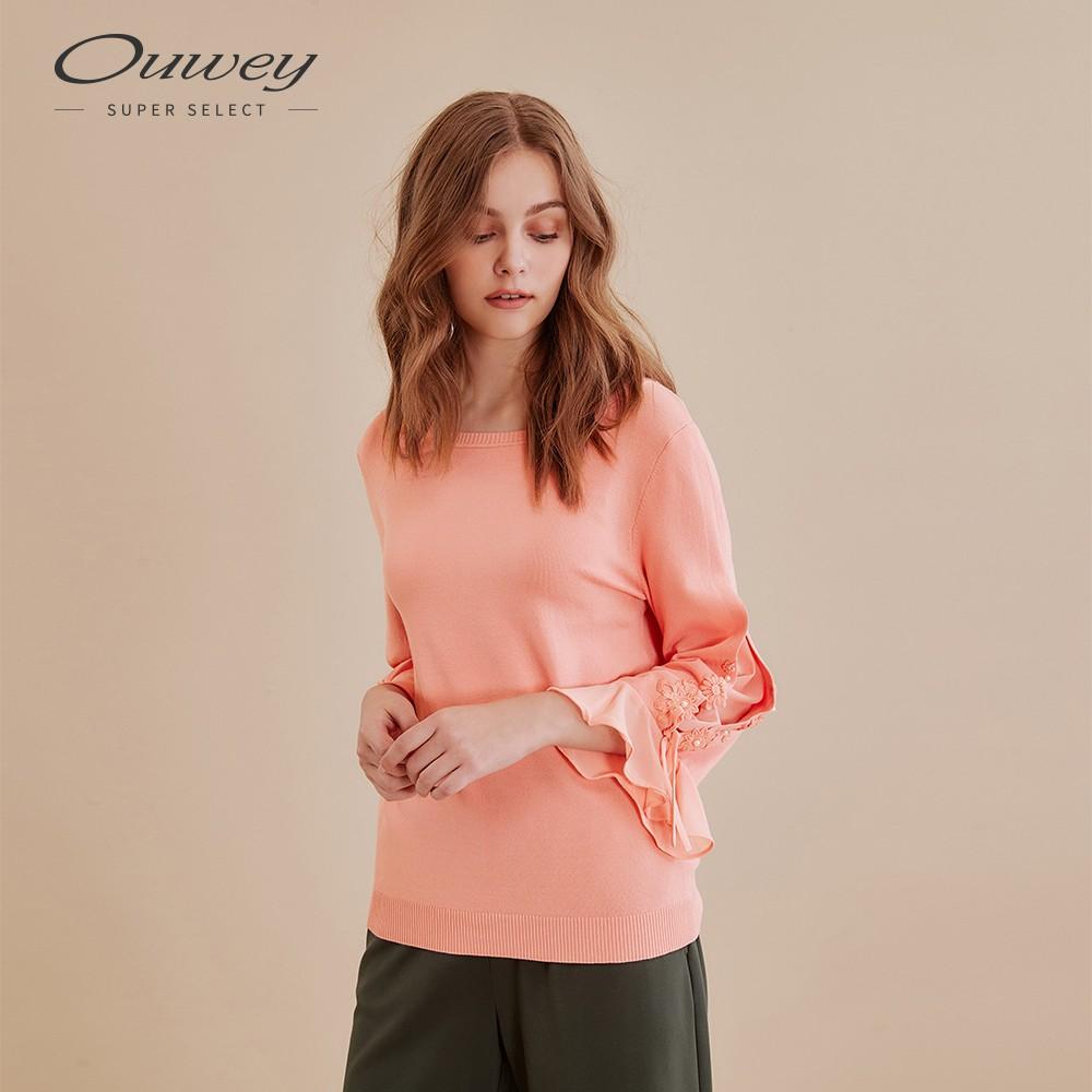OUWEY歐薇 純色開洞蕾絲貼花針織上衣(桔/綠)I66522