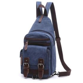 メンズバッグ ショルダースリング旅行多機能胸BagMenソリッドカラーカジュアルシングルバックパック レザーバッグ (Color : Blue, Size : S)