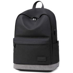 Geoge Lassieビジネスリュック バックパック USB充電ポート付き 15.6インチ収納 防水 大容量 衝撃吸収 多機能ポケット 通勤 通学 出張 旅行 アウトドア メンズ用 (ブラック)