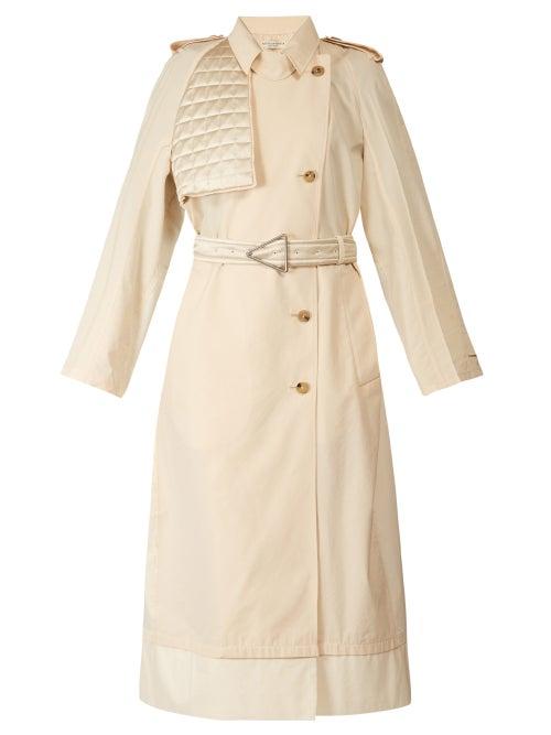 Bottega Veneta - Contrast-panel Belted Trench Coat - Womens - Ivory
