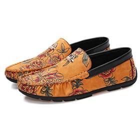 [シュウカ] 定番 ビジネスシューズ ローファー メンズ ブラック 長時間歩いても疲れない 幅広 履きやすい 軽量 メンズ 25.0cm 靴 コーディネートしやすい ゴージャス感まんまん 柔軟性 イエロー 屈曲性 耐久性 紳士靴