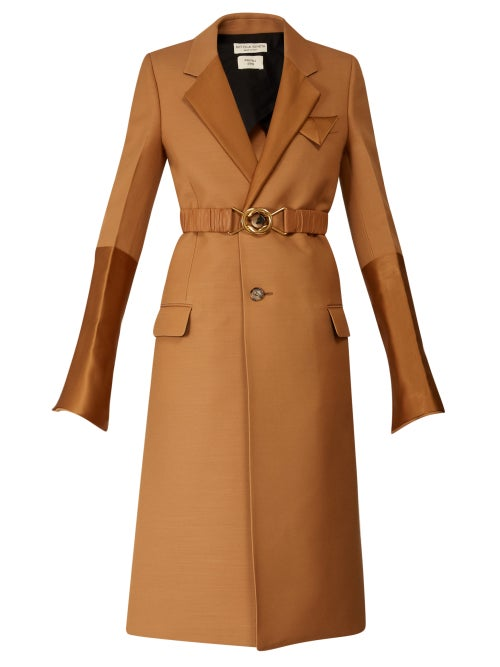 Bottega Veneta - Contrast-panel Belted Single-breasted Coat - Womens - Camel