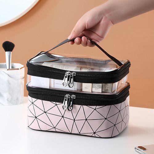 【超取399免運】手提大容量雙層網紅化妝包 透明洗漱包 防水旅行便攜收納包
