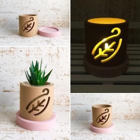 【葉っぱ ピンク】インテリア雑貨、鉢カバー、キャンドルホルダー