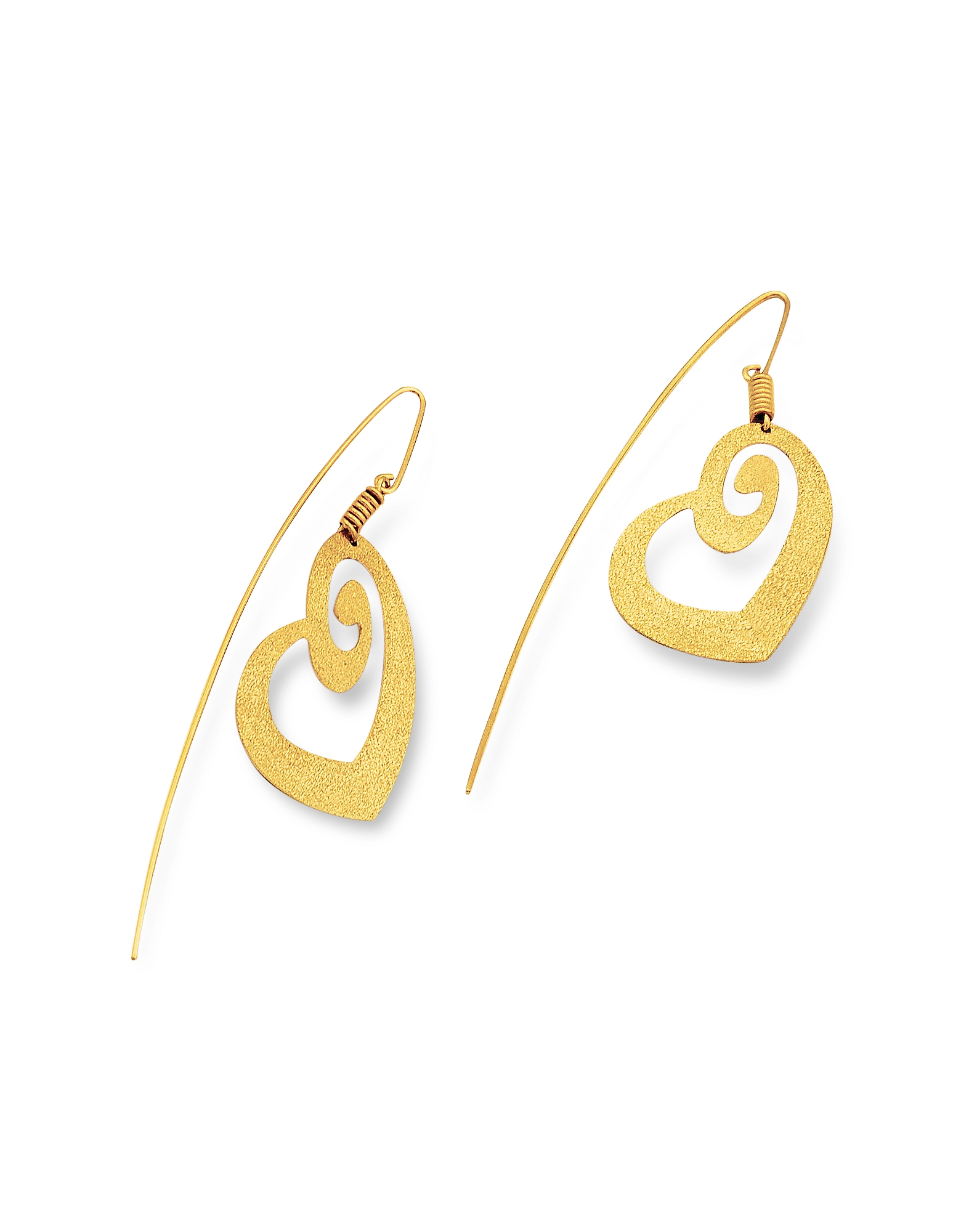 Stefano Patriarchi 帕特雅克 耳环, 金银色刻纹心形吊式耳环