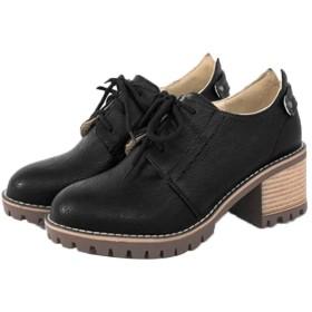 [Yj6x] オックスフォード レディース 革靴 幅広 レザー 通学 通勤 レースアップ パンプス シューズ 靴 ブラック おじ靴 ヒール カジュアル 女性用 足綺麗に見える レースアップシューズ 安定感 22.5cm オックスフォードシューズ