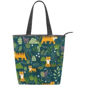 トートバッグ キャンバス バッグ 多機能 多用途 森の中の虎 ショルダー バッグ ハンドバッグ レディース 人気 可愛い 帆布 カジュアル