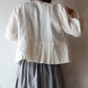 リネン100% ペプラムジャケット(フリー/白)