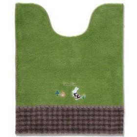 オカ (吸水 抗菌 防臭) シャン・ラパン ロングサイズトイレマット 約75×63cm グリーン