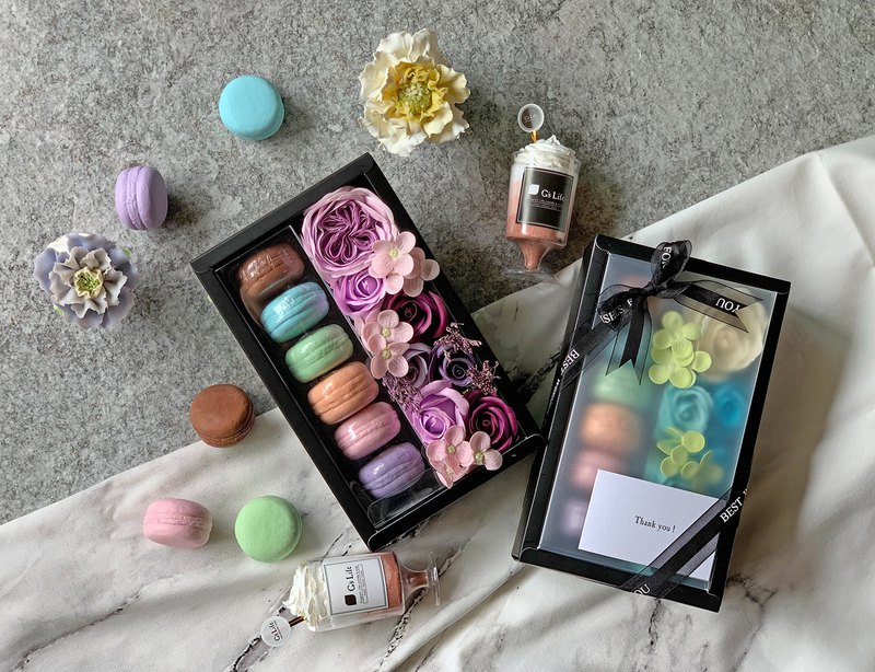 花與香氛─馬卡龍與玫瑰花香皂禮盒【紫】